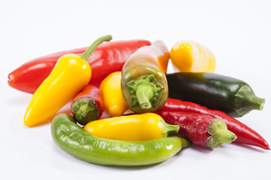 heap of colorful raw chili pepper  on white backgroundの写真素材 [FYI00656974]