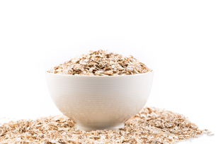 Oat flakes for Breakfast isolated on white backgroundの写真素材 [FYI00657037]