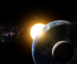 sunrise to the earth and moon in galaxy space element funished bの写真素材 [FYI00657092]
