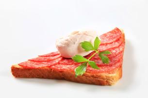 Salami sandwichの写真素材 [FYI00657318]