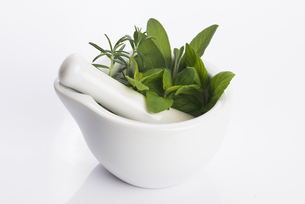 mortar with herbs isolated on a white backgroundの写真素材 [FYI00657518]