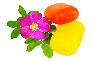 Two pieces of soap with flower wild roseの写真素材 [FYI00657696]