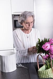 active senior prepares flowersの写真素材 [FYI00657789]