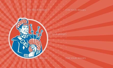 Business card Scotsman Scottish Bagpiper Retroの写真素材 [FYI00657942]