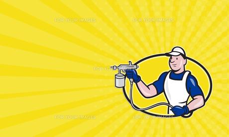 Business card Spray Painter Spraying Gun Cartoonの写真素材 [FYI00657947]