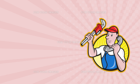 Business card Plumber Worker With Adjustable Wrench Phoneの写真素材 [FYI00657952]