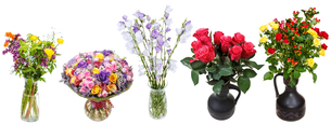 set of bouquets of flowers in vases isolatedの写真素材 [FYI00658247]