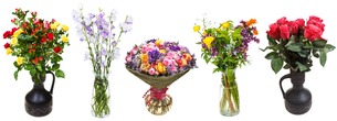 set of bunches of flowers in vases isolatedの写真素材 [FYI00658248]