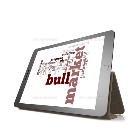 Bull market word cloud on tabletの素材 [FYI00658344]