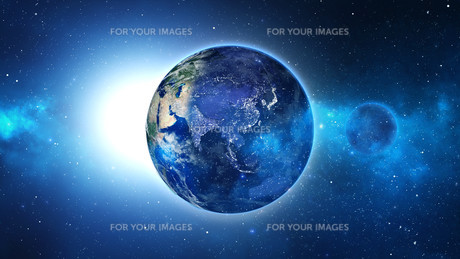 Planet Earth with sun in universe or space, Earth and galaxy in a nebula cloudの写真素材 [FYI00658364]