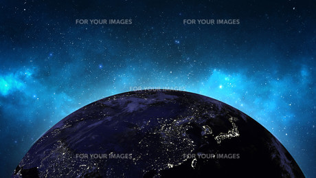 Planet Earth with sun in universe or space, Earth and galaxy in a nebula cloudの写真素材 [FYI00658366]