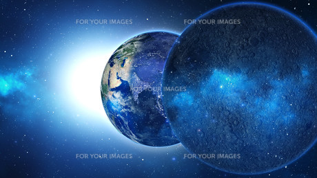 Planet Earth with sun in universe or space, Earth and galaxy in a nebula cloudの写真素材 [FYI00658369]