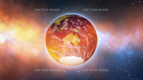 Planet Earth with sun in universe or space, Earth and galaxy in a nebula cloudの写真素材 [FYI00658370]
