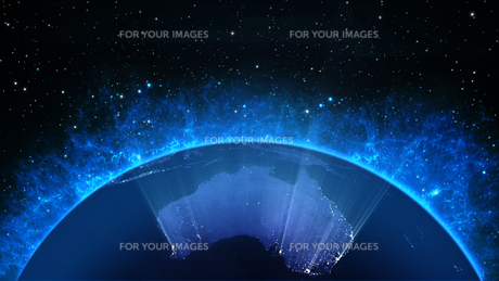 Planet Earth with sun in universe or space, Earth and galaxy in a nebula cloudの写真素材 [FYI00658378]