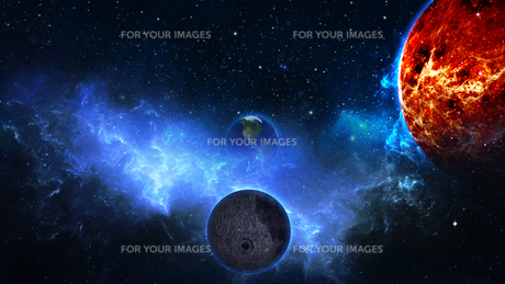 Planet Earth with sun in universe or space, Earth and galaxy in a nebula cloudの写真素材 [FYI00658382]