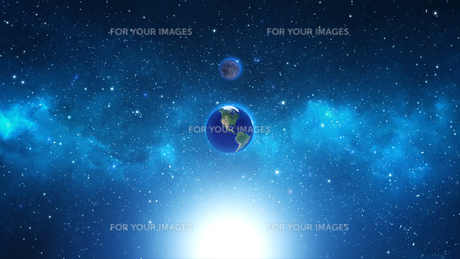 Planet Earth with sun in universe or space, Earth and galaxy in a nebula cloudの写真素材 [FYI00658383]