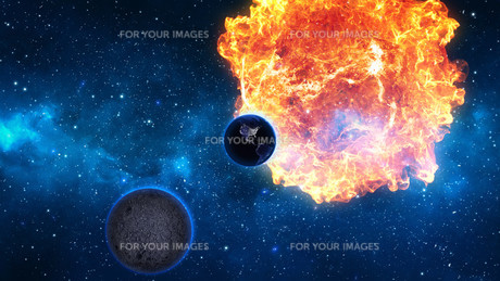 Planet Earth with sun in universe or space, Earth and galaxy in a nebula cloudの写真素材 [FYI00658385]