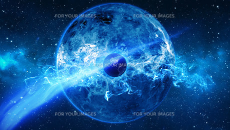 Planet Earth with sun in universe or space, Earth and galaxy in a nebula cloudの写真素材 [FYI00658386]