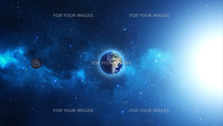 Planet Earth with sun in universe or space, Earth and galaxy in a nebula cloudの写真素材 [FYI00658389]