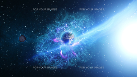 Planet Earth with sun in universe or space, Earth and galaxy in a nebula cloudの写真素材 [FYI00658391]