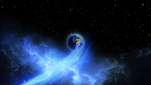 Planet Earth with sun in universe or space, Earth and galaxy in a nebula cloudの写真素材 [FYI00658393]