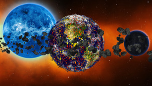 Earth burning or exploding after a global disaster, Apocalypse asteroid impact globe.の写真素材 [FYI00658413]