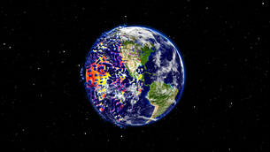 Earth burning or exploding after a global disaster, Apocalypse asteroid impact globe.の写真素材 [FYI00658414]