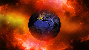 Earth burning or exploding after a global disaster, Apocalypse asteroid impact globe.の写真素材 [FYI00658419]