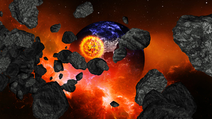 Earth burning or exploding after a global disaster, Apocalypse asteroid impact globe.の写真素材 [FYI00658420]