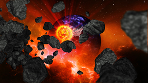Earth burning or exploding after a global disaster, Apocalypse asteroid impact globe.の写真素材 [FYI00658421]