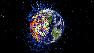 Earth burning or exploding after a global disaster, Apocalypse asteroid impact globe.の写真素材 [FYI00658454]