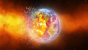 Earth burning or exploding after a global disaster, Apocalypse asteroid impact globe.の写真素材 [FYI00658455]