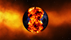Earth burning or exploding after a global disaster, Apocalypse asteroid impact globe.の写真素材 [FYI00658460]