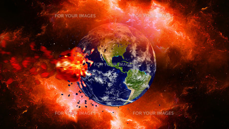 Earth burning or exploding after a global disaster, Apocalypse asteroid impact globe.の写真素材 [FYI00658461]