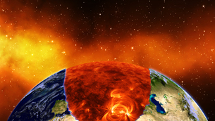 Earth burning or exploding after a global disaster, Apocalypse asteroid impact globe.の写真素材 [FYI00658462]