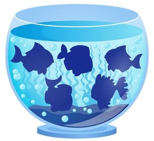 Aquarium with fish silhouettes 3の写真素材 [FYI00658463]