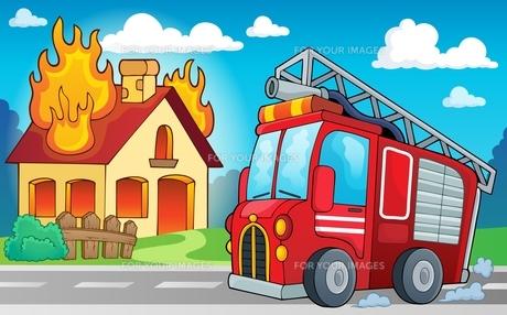 Fire truck theme image 3の写真素材 [FYI00658472]