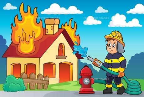 Firefighter theme image 2の写真素材 [FYI00658476]