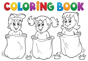 Coloring book children playing theme 1の素材 [FYI00658479]