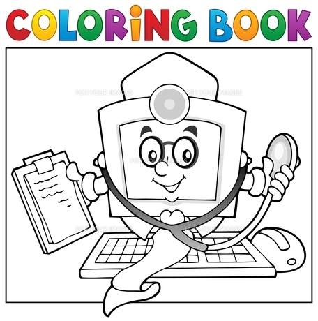 Coloring book computer doctor theme 1の素材 [FYI00658480]