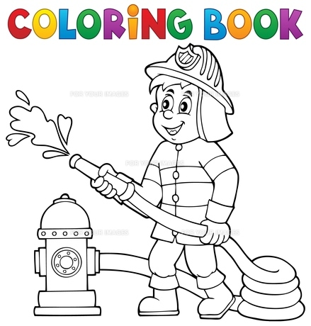 Coloring book firefighter theme 1の写真素材 [FYI00658485]