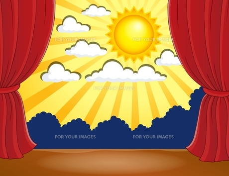 Stage with abstract sun 3の写真素材 [FYI00658492]
