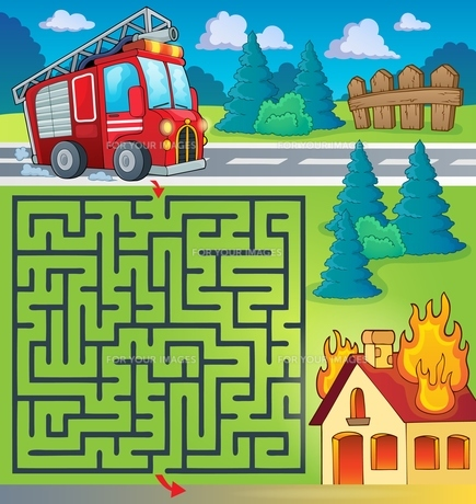 Maze 3 with fire truck themeの写真素材 [FYI00658500]