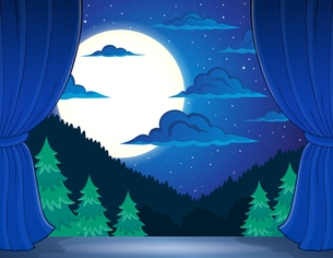 Stage with night landscapeの写真素材 [FYI00658501]