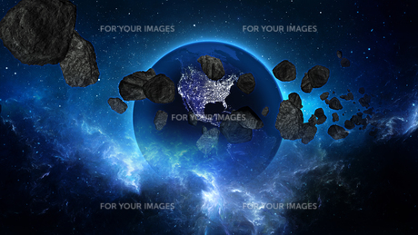 Planet Earth with asteroid in universe or space, Globe and galaxy in a nebula cloud with meteorsの写真素材 [FYI00658584]