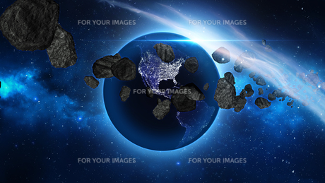 Planet Earth with asteroid in universe or space, Globe and galaxy in a nebula cloud with meteorsの写真素材 [FYI00658585]