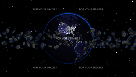 Planet Earth with asteroid in universe or space, Globe and galaxy in a nebula cloud with meteorsの写真素材 [FYI00658586]
