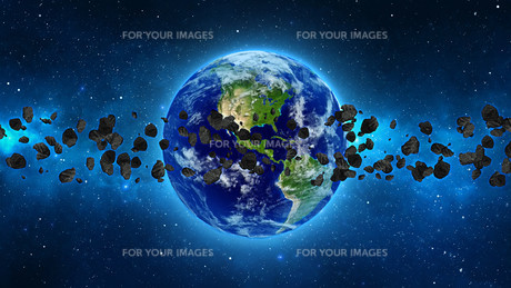 Planet Earth with asteroid in universe or space, Globe and galaxy in a nebula cloud with meteorsの写真素材 [FYI00658588]