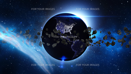Planet Earth with asteroid in universe or space, Globe and galaxy in a nebula cloud with meteorsの写真素材 [FYI00658591]