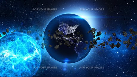 Planet Earth with asteroid in universe or space, Globe and galaxy in a nebula cloud with meteorsの写真素材 [FYI00658592]